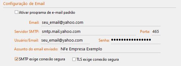Configurações do GDOOR para Servidor SMTP Yahoo porta 465