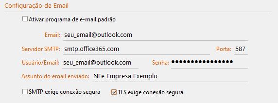 Configurações do GDOOR para Servidor SMTP Outlook