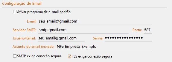 Configurações do GDOOR para Servidor SMTP Gmail porta 587