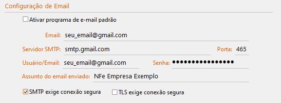 Configurações do GDOOR para Servidor SMTP Gmail porta 465