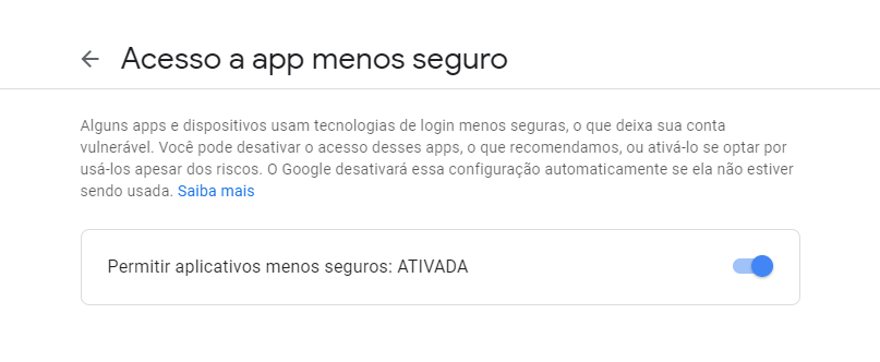 Permitir aplicativos menos seguros a utilizar a conta Google para envio de e-mails